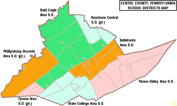 Map of Areas involved with Centre County Sports Hall of Game